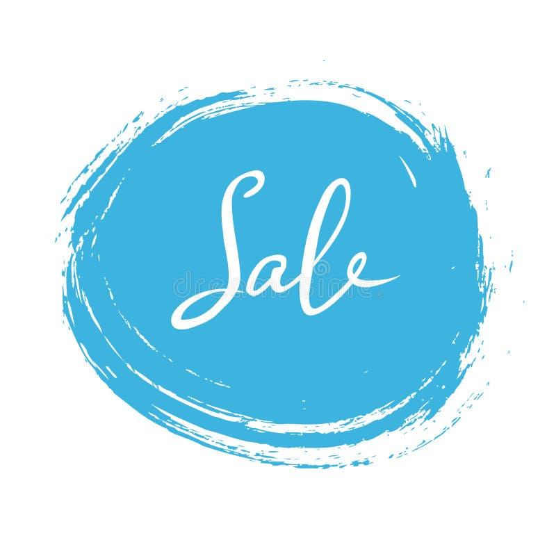 Den abstrakta vita försäljningen undertecknar över fläcken för blått färgpulver på vit bakgrund också vektor för coreldrawillustr stock illustrationer