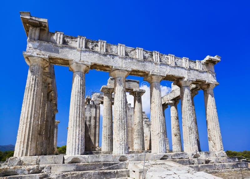 Den Aeginagreece ön Fördärvar Tempelet Royaltyfri Fotografi