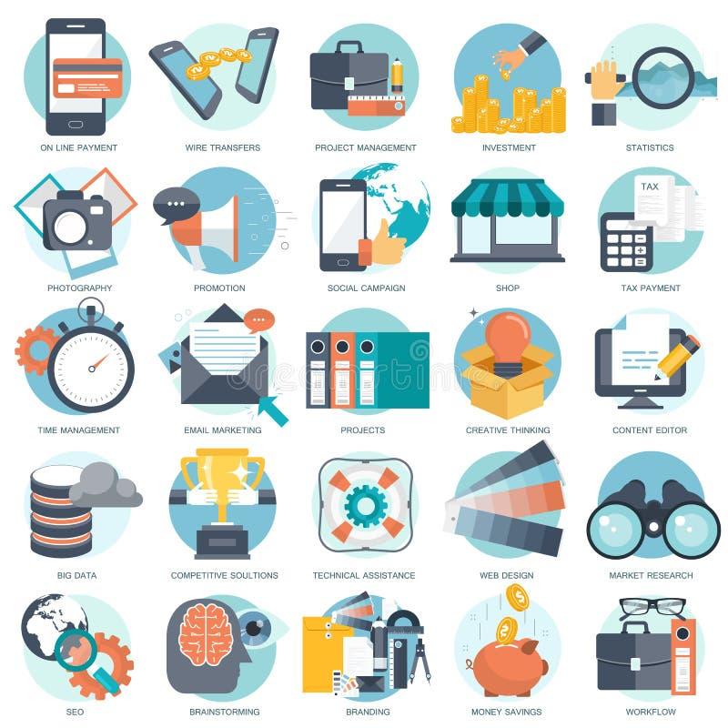 Den affärs-, teknologi- och finanssymbolen ställde in för websites och mobilapplikationer och service Plan vektor royaltyfri illustrationer