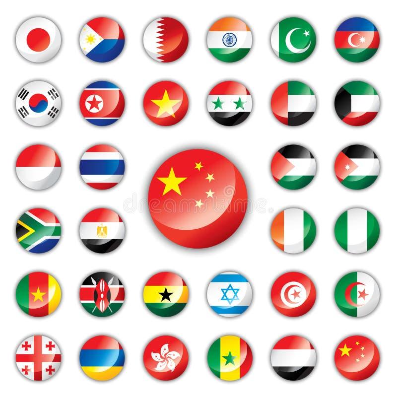 den africa asia knappen flags glansigt vektor illustrationer
