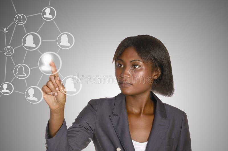 Den Africam affärskvinnan, samkväm knyter kontakt royaltyfria foton