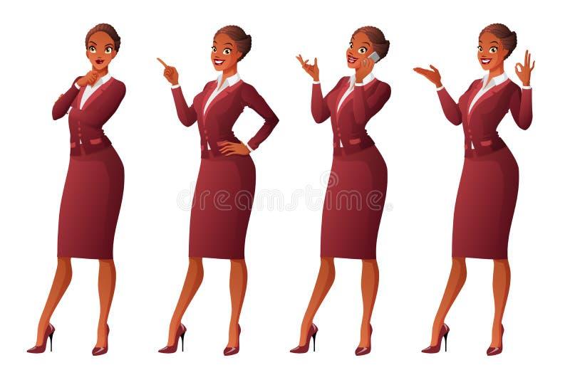 Den afrikanska affärskvinnan i olikt poserar vektor för set för tecknad filmhjärtor polar vektor illustrationer
