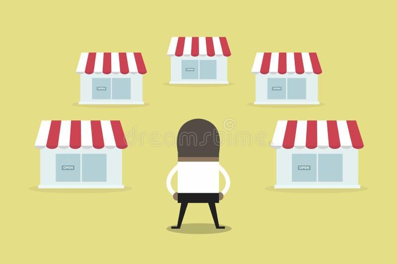 Den afrikanska affärsmannen med shoppar koncessionbegrepp äganderätt för home tangent för affärsidé som guld- ner skyen till Plan royaltyfri illustrationer