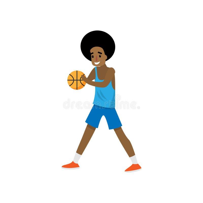 Den afrikanska basketspelaren stoppade dribbling med den röda bollen royaltyfri illustrationer