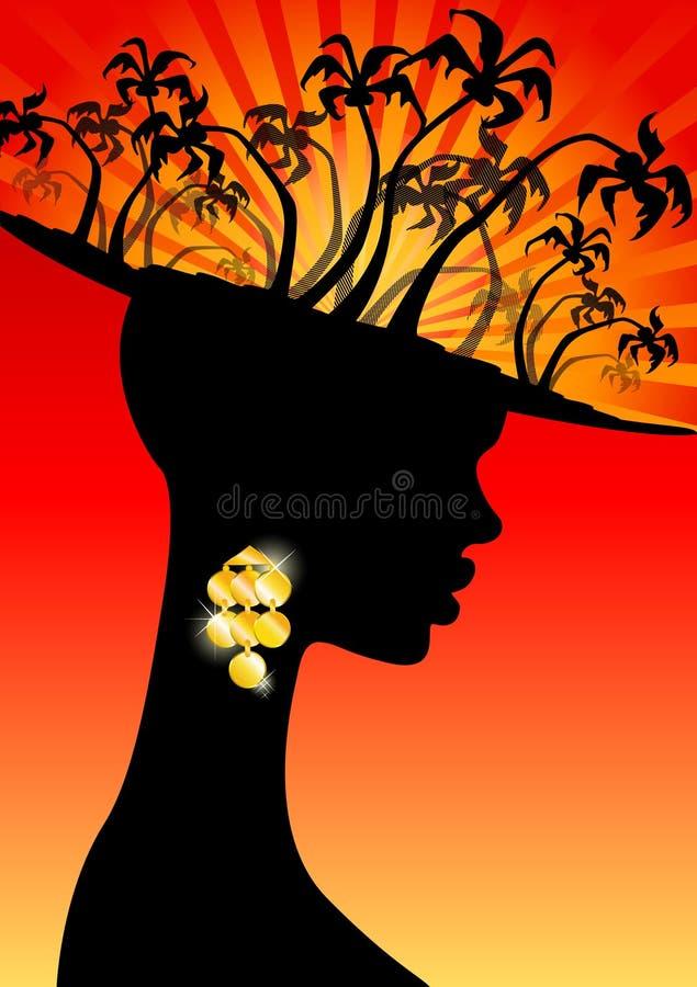 den afrikanska flickan gömma i handflatan tropiskt royaltyfri illustrationer