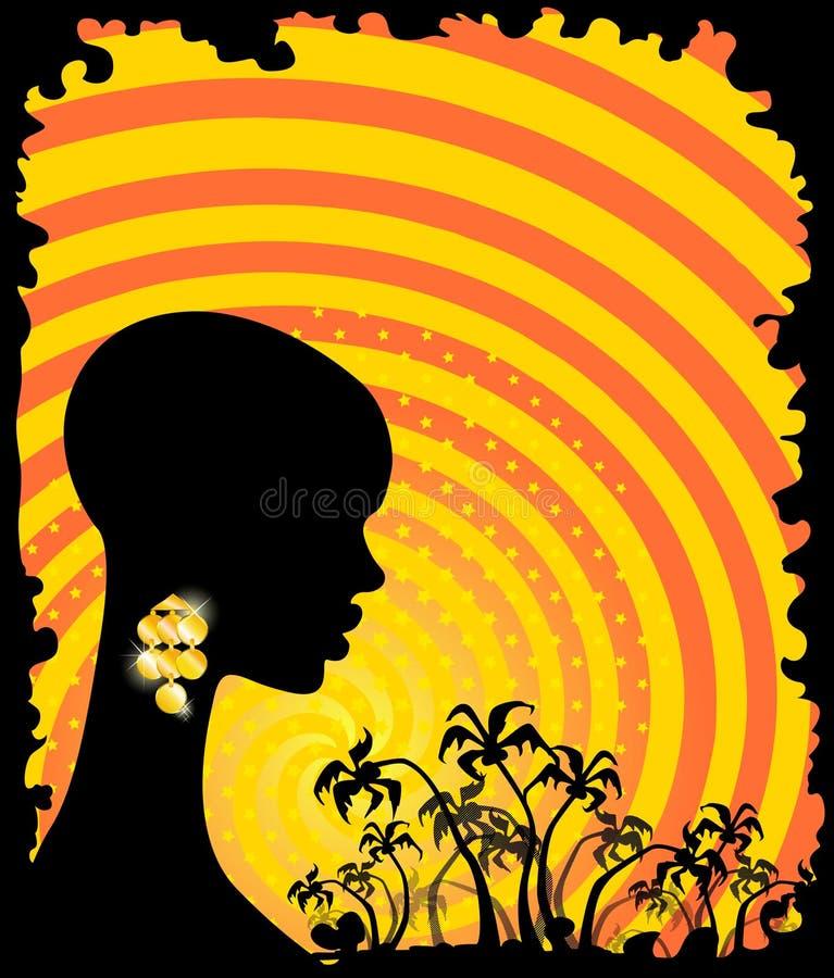 den afrikanska flickan gömma i handflatan tropiskt stock illustrationer