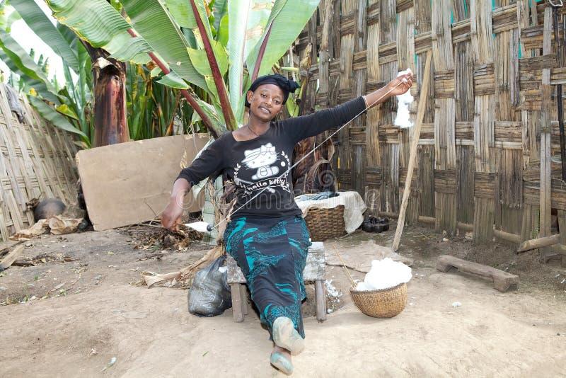 Den afrikanska kvinnan arbetar bomullen royaltyfria foton