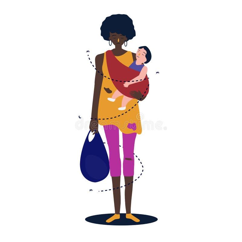 Den afrikanska modern behandla som ett barn kramar henne för att göra henne Flyktingkvinna som står fattigt armod stock illustrationer