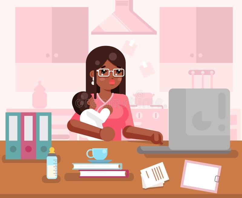 Den afro- amerikanska arbetande mammakvinnan med barninrikesdepartementet hyr rum för designbegreppet för inre bakgrund den plana royaltyfri illustrationer