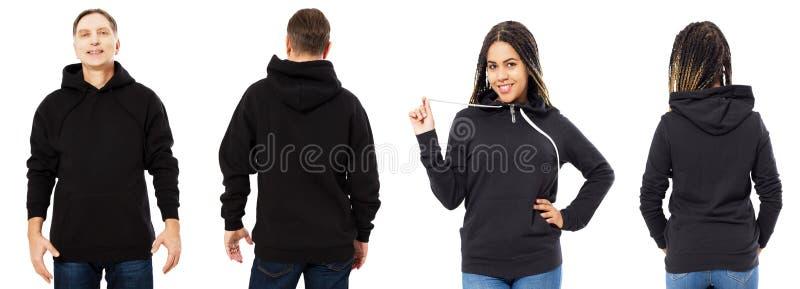 Den afro- amerikanska kvinnan i hoodiemodell, mannen i tom huvframdel och den tillbaka sikten som isolerades över vitt, hoodie st royaltyfri fotografi