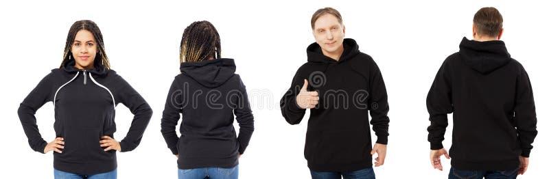 Den afro- amerikanska kvinnan i hoodiemodell, mannen i tom huvframdel och den tillbaka sikten som isolerades över vitt, hoodie st arkivbilder