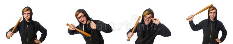 Den aggressiva mannen med baseballslagträet som isoleras på vit royaltyfri bild