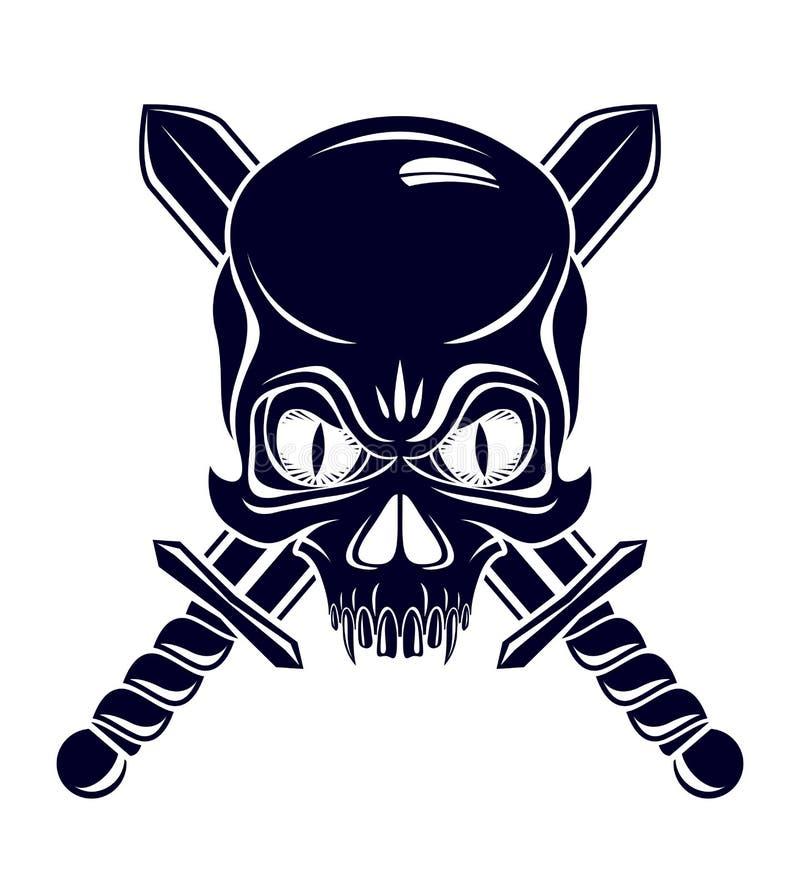 Den aggressiva skallen piratkopierar emblemet Jolly Roger med vapen, logo för vektortappningstil eller tatueringhuvudet vektor illustrationer