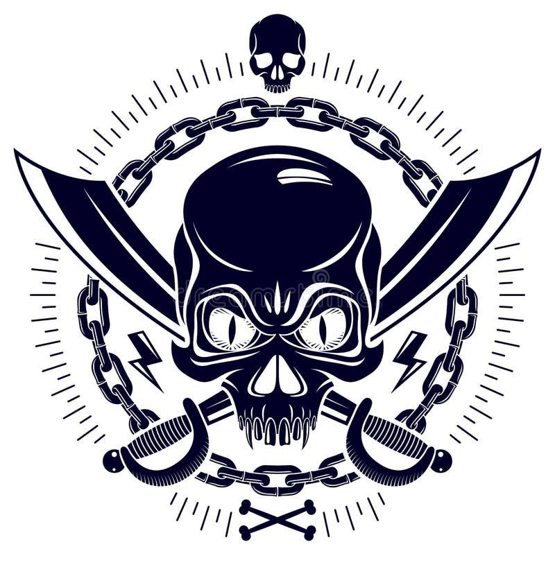 Den aggressiva skallen piratkopierar emblemet Jolly Roger med vapen och andra designbest?ndsdelar vektor illustrationer