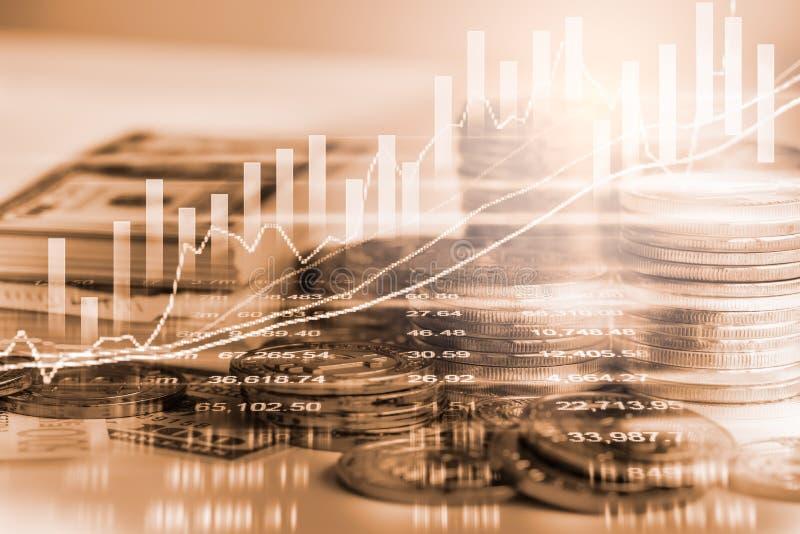Den aktiemarknad- eller forexhandelgrafen och ljusstaken kartlägger suitab stock illustrationer