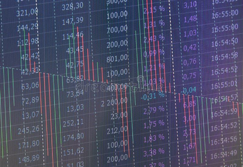 Den aktiemarknadhandelgrafen och ljusstaken kartlägger passande för begrepp för finansiell investering Abstrakt finansbakgrund arkivbild