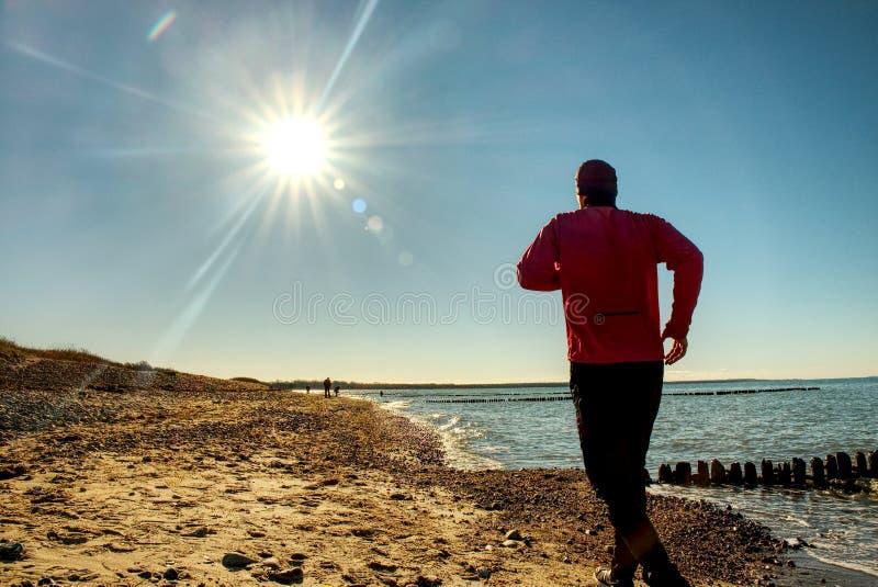 Den aktiva mannen kör på sjön Semestrar för begrepp för livsstil för loppaffärsföretag sunda, idrotts- person arkivbild