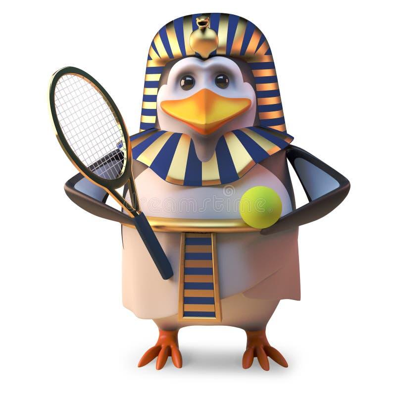 Den aktiva pingvinfarao Tutankhamun spelar tennis hela tiden, illustrationen 3d royaltyfri illustrationer