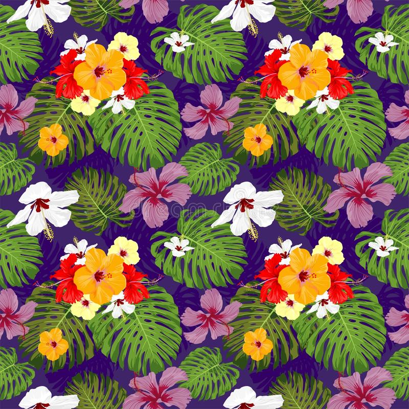 Den aktuella botanikhibiskusblomman och mode för den sömlösa modellen för det Monstera bladet chic planlägger med mörk purpurfärg royaltyfri illustrationer