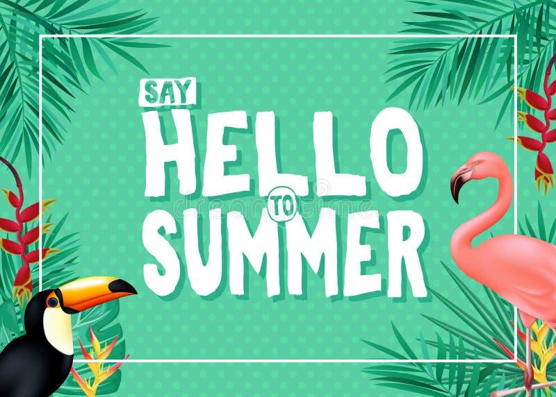 Den aktuella sommarbanerdesignen med säger Hello till sommarmeddelandet i grön färg med polkan Dots Patterned Background vektor illustrationer
