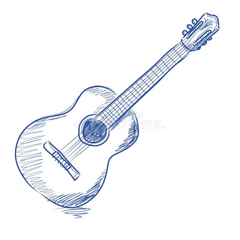 den akustiska gitarren skissade vektor illustrationer