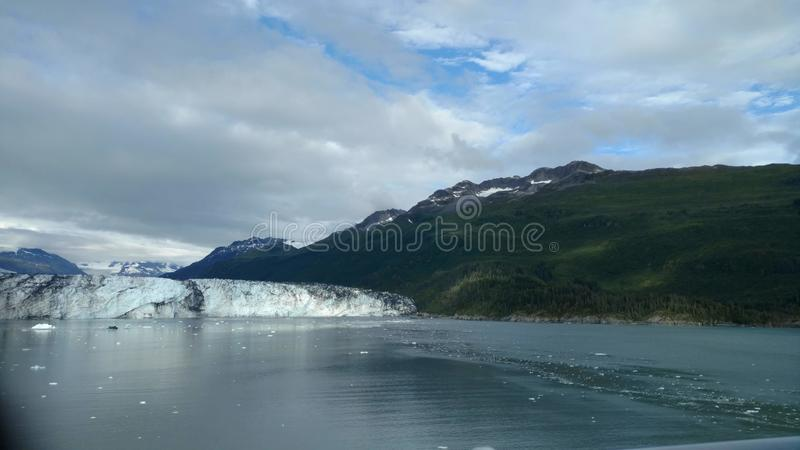 Den Alaska Harvard för fjorden för den Harvard glaciärhögskolan armen med snö täckte bergmaxima och det lugna Stilla havet med is fotografering för bildbyråer