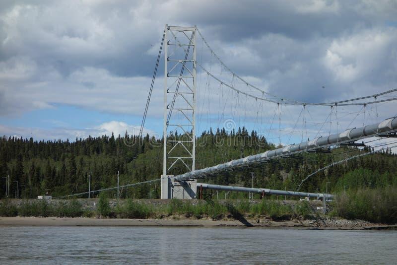 Den alaskabo rörledningen som korsar en flod fotografering för bildbyråer