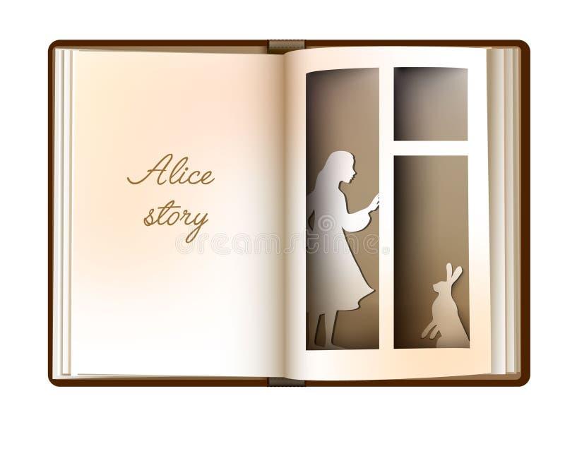 Den Alice berättelseidén, läsning och fantasibegreppet, tom boksida för tappning ser som fönster med flickakonturn och vektor illustrationer
