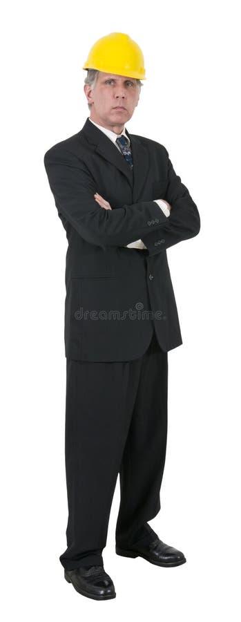 Den allvarliga affärsmanmanen projekterar den isolerade chefen arkivfoto