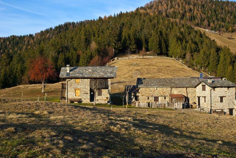 den alpina hösten förlägga i barack liggande royaltyfri bild