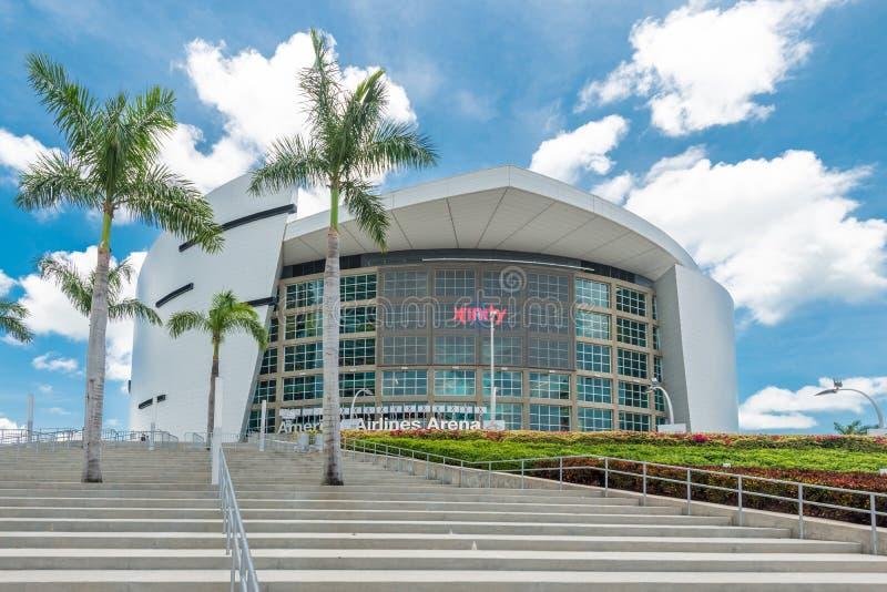 Den American Airlines arenan, hem av den Miami värmen arkivfoton