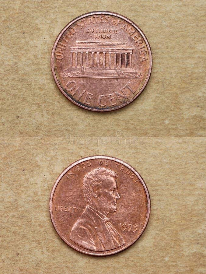 den Amerika centen coins en serievärld arkivfoto