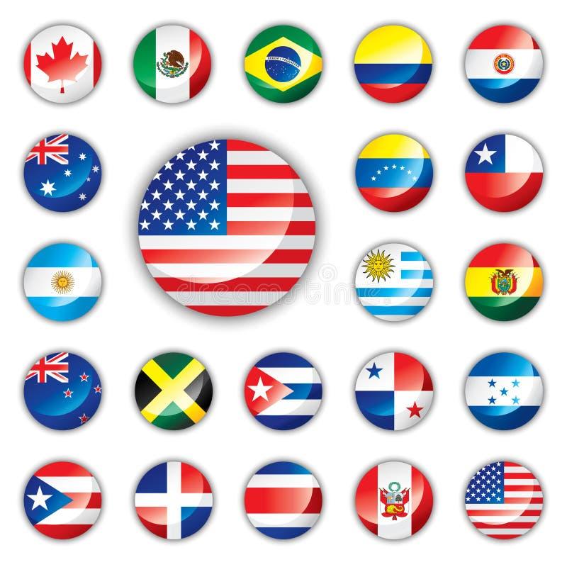 den Amerika knappen flags glansigt royaltyfri illustrationer