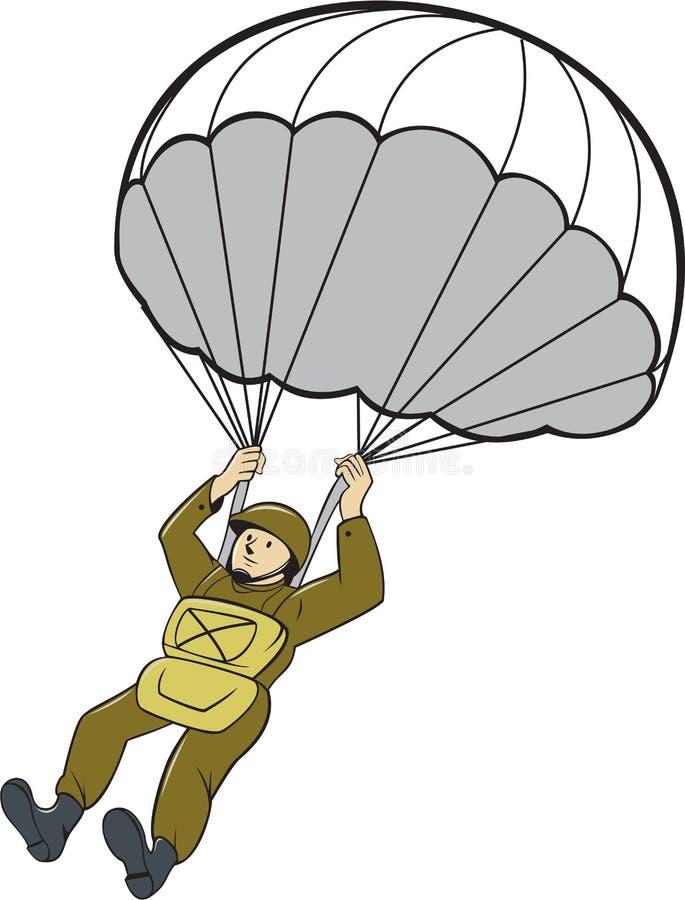 Den amerikanska fallskärmsjägaren hoppa fallskärm tecknade filmen stock illustrationer