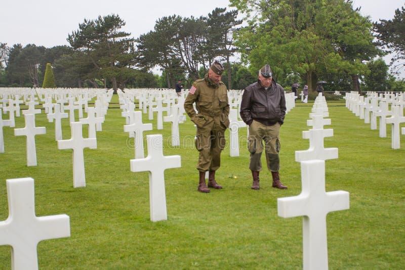 Den amerikanska militära kyrkogården nära Omaha Beach på Colleville sur Mer som historisk plats av dag D 1944 förenade landningar royaltyfria foton