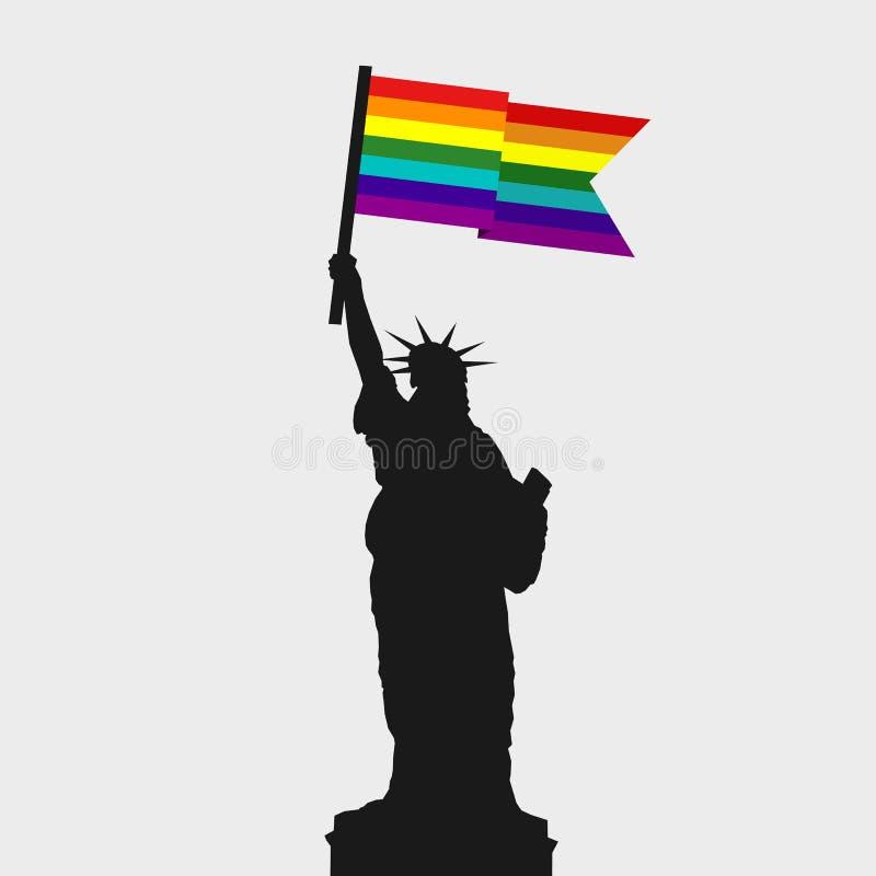 Den amerikanska statyn av frihet rymmer den glade flaggan stock illustrationer