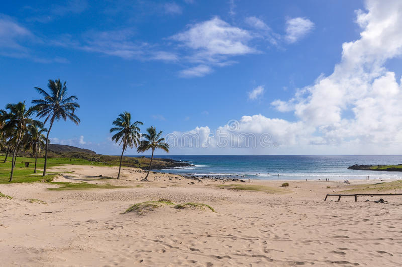 Den Anakena stranden i påskön, Chile royaltyfria bilder