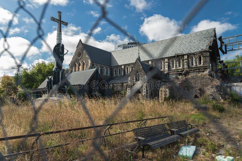 Den anglikanChristchurch domkyrkan i centrum av Christchurch, södra ö av Nya Zeeland arkivfoto