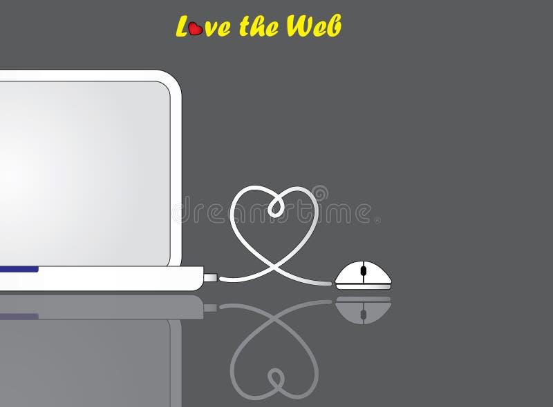 Den anteckningsbokbärbara datorn och musen med formad förälskelsehjärta binder anslutning royaltyfri illustrationer