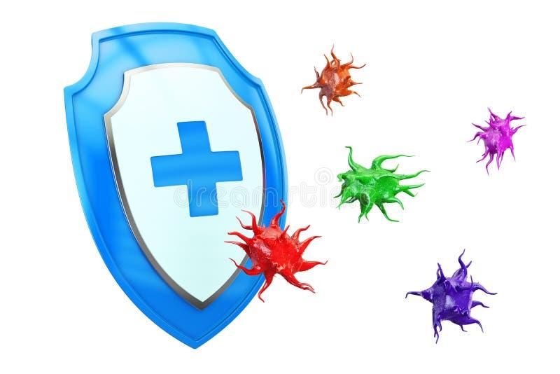 Den Antibacterial eller anti-virusskölden, hälsa skyddar begrepp 3d vektor illustrationer