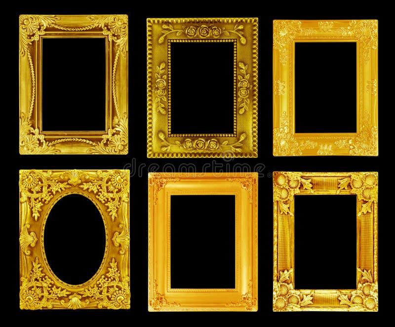 Den antika guld- ramen på svarten fotografering för bildbyråer