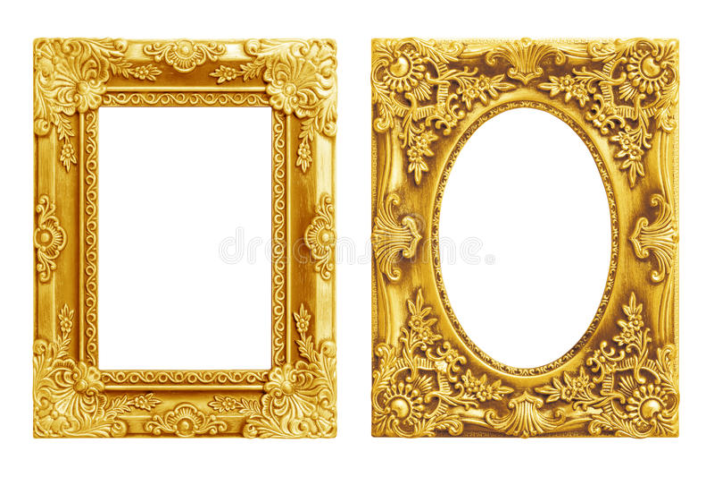 Den antika guld- ramen på viten royaltyfri fotografi