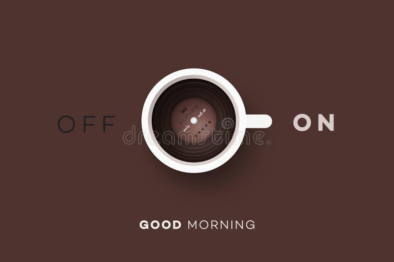 den antika koppen för affärskaffeavtalet danade för pennplatsen för den nya goda morgonen den gammala skrivmaskinen Begreppsmässi royaltyfri illustrationer