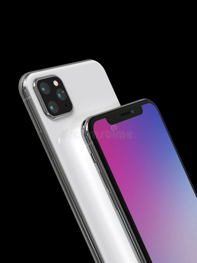 Den Apple iPhoneXs eftertr?daren, 2019, l?ckte designsimulering vektor illustrationer