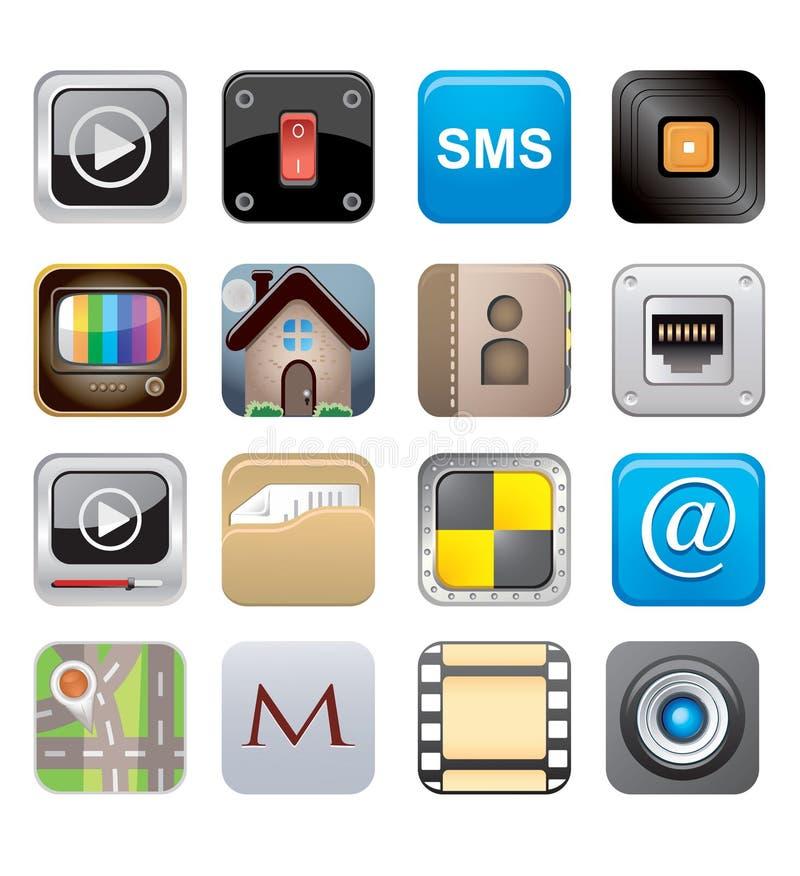 Den Apps symbolen ställde in en stock illustrationer