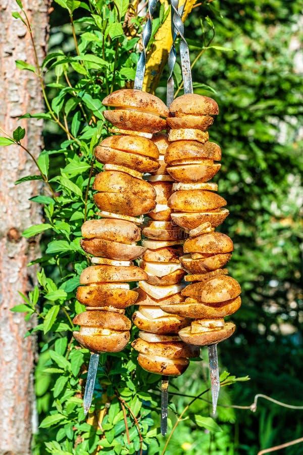 Den aptitretande potatisen med späcker på steknålar som är förberedda för att grilla på brand på picknicken Vertikal sikt på soll arkivfoton