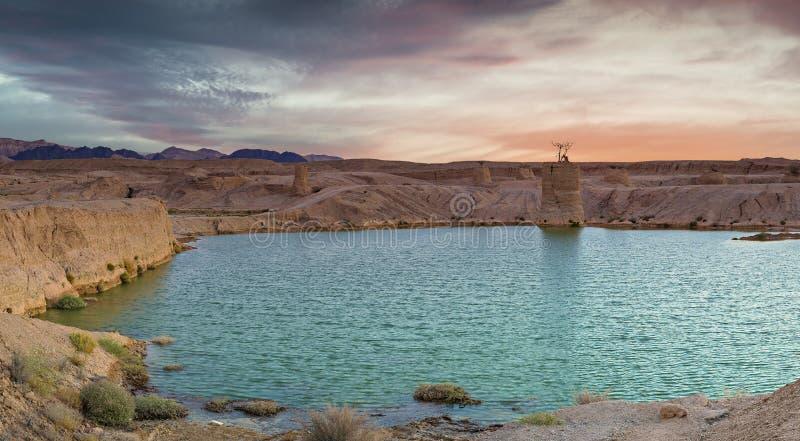 Den Arabah dalen efter tropiskt regn, Israel arkivfoton