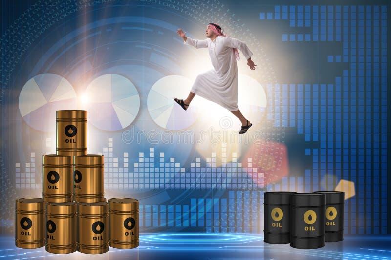 Den arabiska affärsmanbanhoppningen från olje- trummor vektor illustrationer
