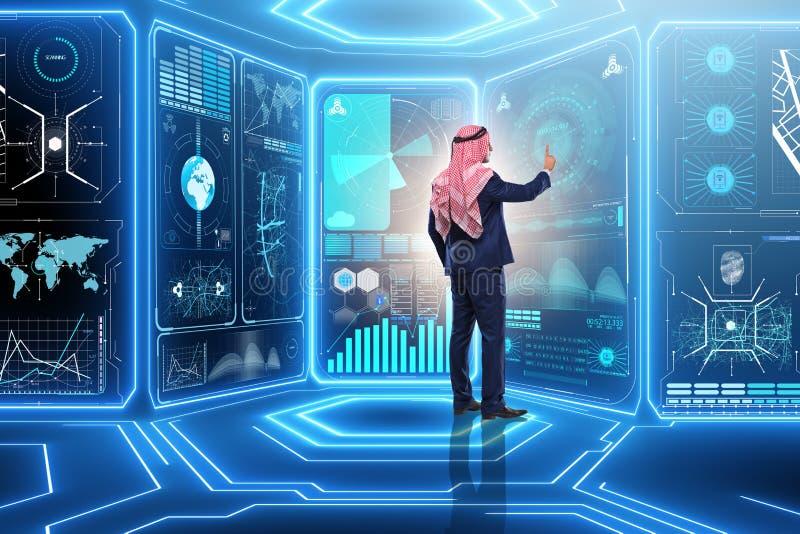 Den arabiska affärsmannen i begrepp för materielhandel royaltyfri illustrationer
