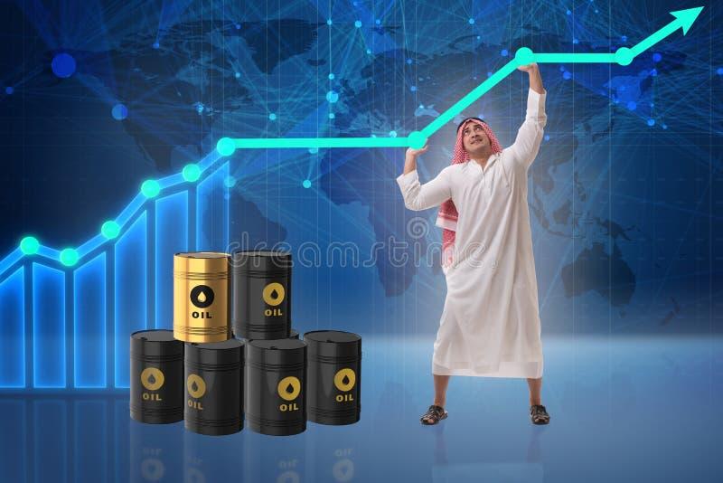Den arabiska affärsmannen i oljeprisaffärsidé vektor illustrationer